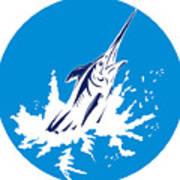Blue Marlin Circle Poster by Aloysius Patrimonio
