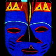 Blue Mask Poster by Angela L Walker
