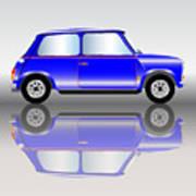 Blue Mini Car Poster