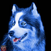 Blue Modern Siberian Husky Dog Art - 6024 - Bb Poster