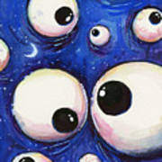 Blue Monster Eyes Poster