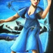 Blue Mood Dancer Poster