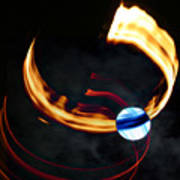 Blue Moon Fire Moon Abstract Poster