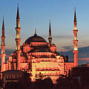Blue Mosque At Dusk Poster