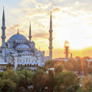 Blue Mosque Sunset Poster