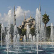 Blue Mosque Through The Fountain Poster