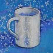 Blue Mug With Flowers Poster