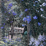 Blue Muted Garden Respite Poster