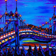 Blue Night Of St. Johns Bridge 37 Poster