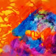 Blue On Orange Poster