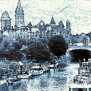 Blue Ottawa Skyline - Water Color Poster