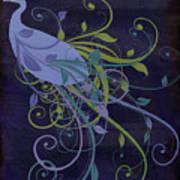 Blue Peacock Art Nouveau Poster