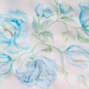 Blue Peonies Poster