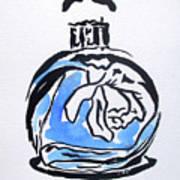 Blue Perfume Bottle Poster