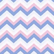 Blue Pink Chevron Pattern Poster