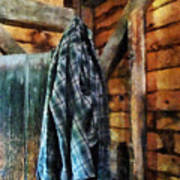 Blue Plaid Jacket In Cabin Poster by Susan Savad
