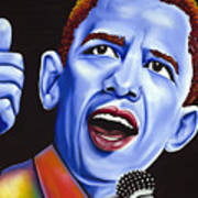 Blue Pop President Barack Obama Poster by Nannette Harris