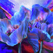 Blue Poppies On Red Poster
