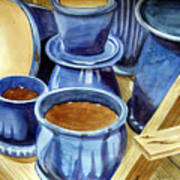 Blue Pots Poster