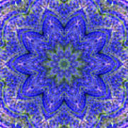 Blue Purple Lavender Floral Kaleidoscope Wall Art Print Poster
