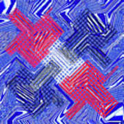 Blue Red And White Janca Abstract Panel Poster