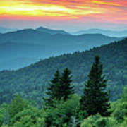 Blue Ridge Parkway Nc Landscape - Fire In The Mountains Poster