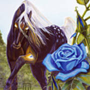 Blue Rose Unicorn Poster
