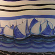 Blue Sailing Boats In The Harbour Poster
