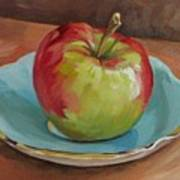 Blue Saucer With Apple Poster