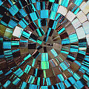 Blue Shiny Stones Gems In A Circular Pattern Poster