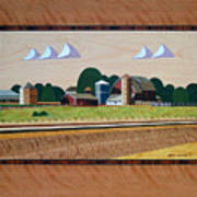 Blue Silo-marquetry Poster