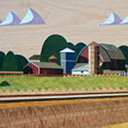 Blue Silo-marquetry-image Poster
