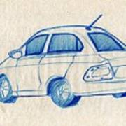 Blue Sketch Of A Car From Left Rear View With A Rear Aerial  Poster