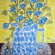 Blue Spongeware Pitcher Morning Glories Poster