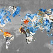 Blue Street Art World Map Poster