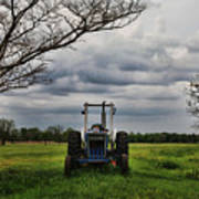 Blue Tractor Green Field Poster