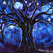 Blue Tree At Night Poster