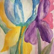 Blue Tulip And Iris Abstract Poster