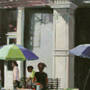 Blue Umbrellas Poster