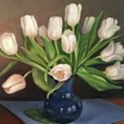 Blue Vase, White Tulips Poster