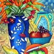 Blue Vase With Orange Flowers Poster
