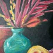 Blue Vase With Red  Poster