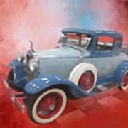 Blue Vintage Car Poster