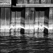 Blue Water Retaining Wall 4 Bw Poster