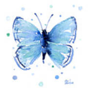 Blue Watercolor Butterfly Poster