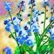 Blue Wildflowers Poster