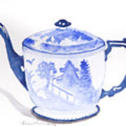 Blue Willow Teapot Poster