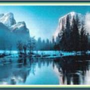Blue Winter Fantasy. L B With Alt. Decorative Ornate Printed Frame. Poster
