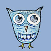 Blue Woot Owl Poster