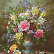 Bluebells Daffodils Primroses And Peonies In A Blue Vase Poster